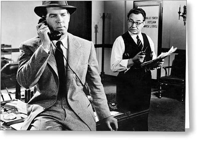 Fred Macmurray In Double Indemnity  Greeting Card by Silver Screen