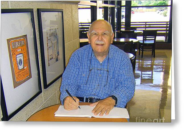 At Work Digital Art Greeting Cards - Fred Sketching at Starbucks  Greeting Card by Fred Jinkins