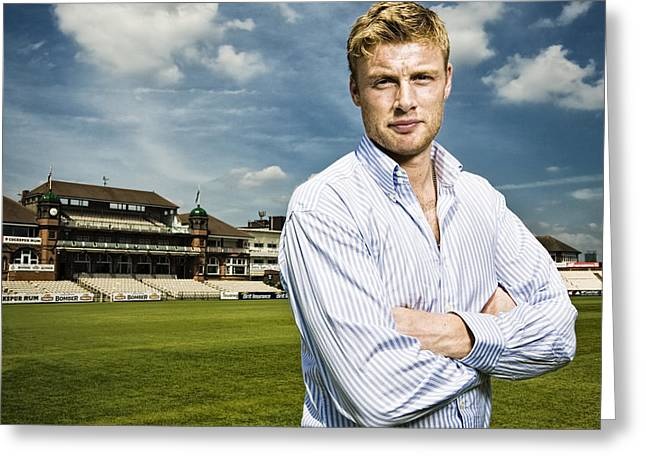 Cricketers Greeting Cards - Freddie Flintoff - famous English cricketer Greeting Card by Jon Boyes