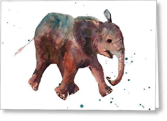 Baby Boy Greeting Cards - Freddie Funtime Elephant Greeting Card by Alison Fennell