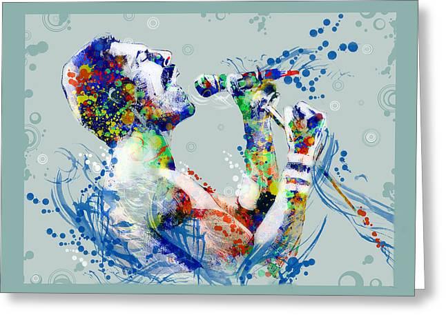 British Portraits Digital Art Greeting Cards - Freddie Mercury 10 Greeting Card by MB Art factory