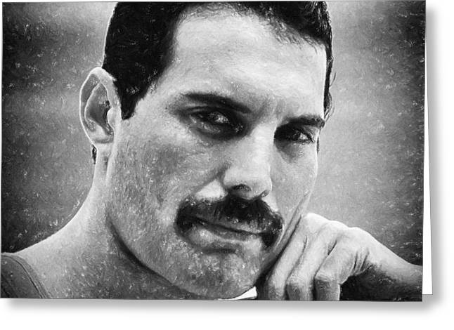 Leaders Pastels Greeting Cards - Freddie Mercury Greeting Card by Antony McAulay
