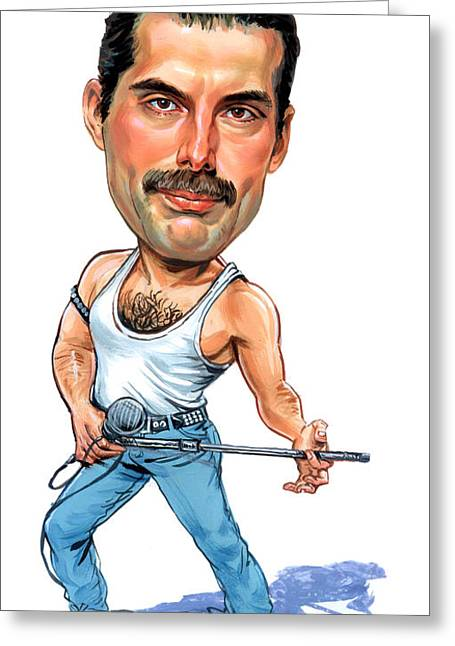 Art Glass Greeting Cards - Freddie Mercury Greeting Card by Art