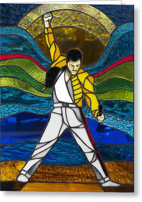 Queen Glass Art Greeting Cards - Freddie Mercury Greeting Card by Cecil Williams