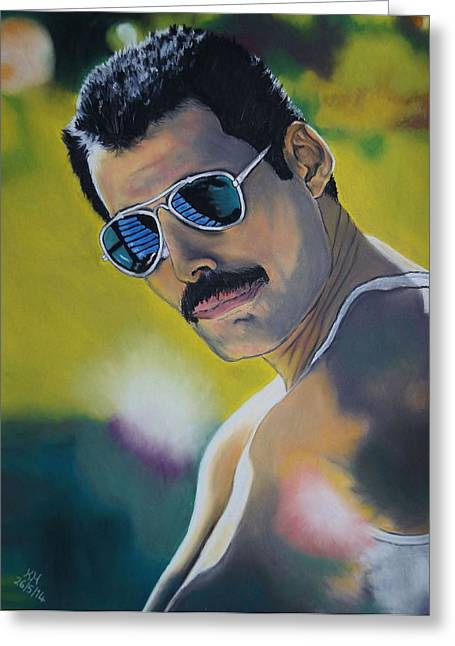 Queen Pastels Greeting Cards - Freddie Mercury Greeting Card by Kevin Hubbard