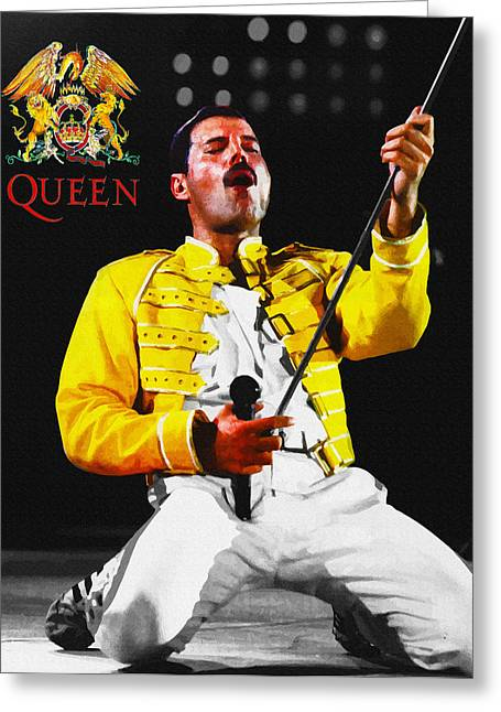 Young Michael Jackson Greeting Cards - Freddie Mercury - Live Concert Greeting Card by Don Kuing