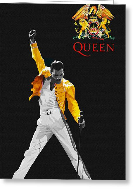 Young Michael Jackson Greeting Cards - Freddie Mercury live in wembley1986    Greeting Card by Don Kuing