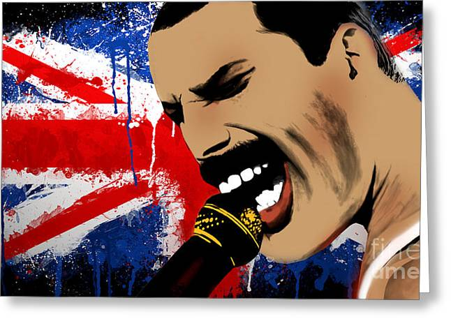 Freddie Mercury Greeting Card by Mark Ashkenazi