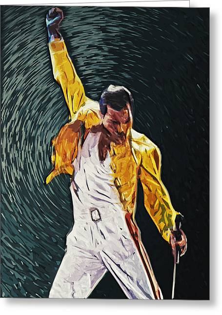 Legendary Greeting Cards - Freddie Mercury Greeting Card by Taylan Soyturk