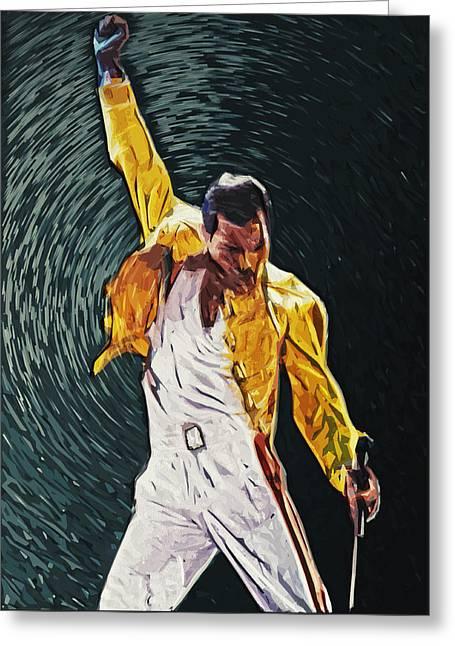 Freddie Mercury Greeting Card by Taylan Soyturk