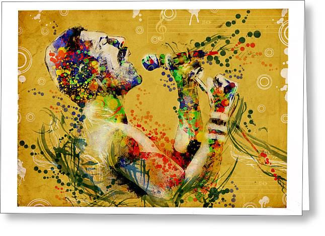 British Portraits Digital Art Greeting Cards - Freddie Mercury Vintage 2 Greeting Card by MB Art factory