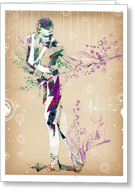 British Portraits Digital Art Greeting Cards - Freddie Mercury Vintage Greeting Card by MB Art factory
