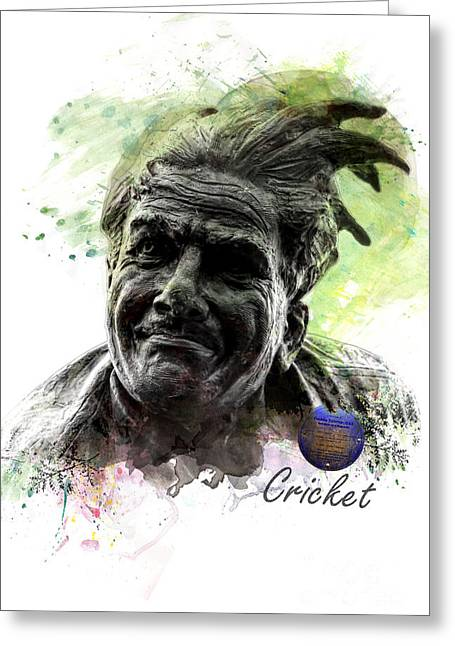 Cricketers Greeting Cards - Freddie Trueman O.B.E Greeting Card by Gillian Singleton