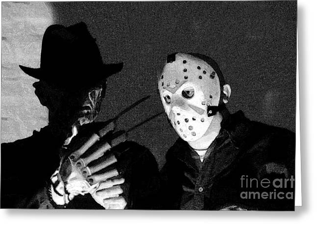 Jason Voorhees Greeting Cards - Freddy and Jason Greeting Card by John Gaffen