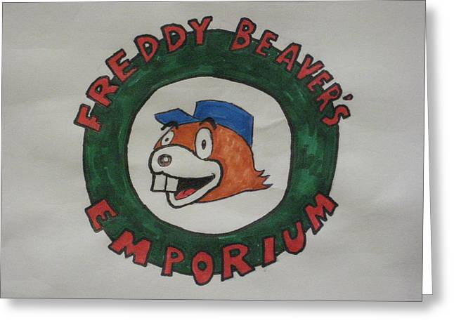 Beaver Drawings Greeting Cards - Freddy Beavers Emporium - logo Greeting Card by David Lovins