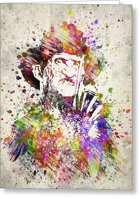 Murderer Greeting Cards - Freddy Krueger in Color Greeting Card by Aged Pixel