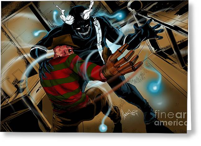 Elm St Greeting Cards - Freddy vs Jibber Jabber Greeting Card by Alexiss Jaimes