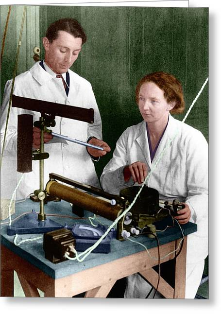 Frederic And Irene Joliot-curie Greeting Card by Emilio Segre Visual Archives/american Institute Of Physics