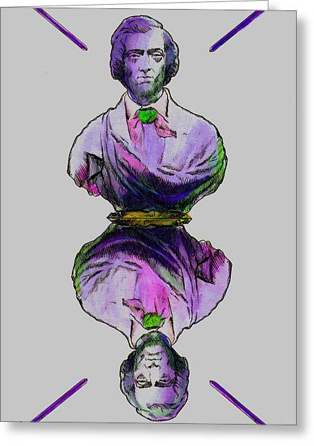 White Chopin Greeting Cards - Frederic Chopin 4 Swords Greeting Card by Magdalena Walulik