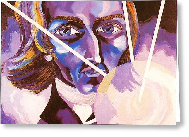 White Chopin Greeting Cards - Frederic Chopin portrait Greeting Card by Preciada Azancot