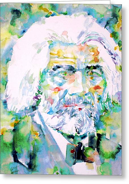 Frederick Greeting Cards - FREDERICK DOUGLASS - watercolor portrait Greeting Card by Fabrizio Cassetta