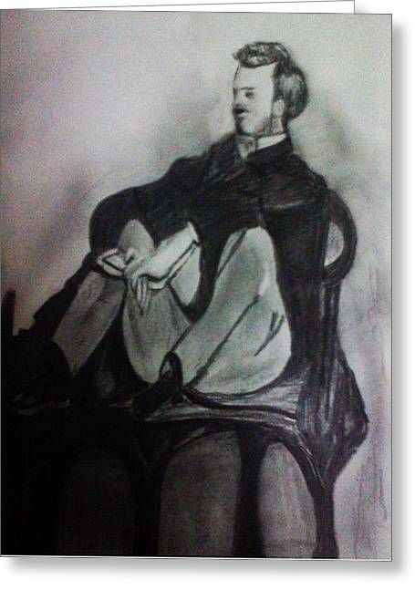 Renoir Drawings Greeting Cards - Frederick Grazille Greeting Card by Sumisha Chandan