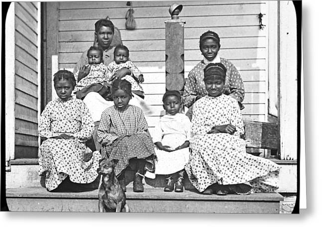 """post Civil War"" Greeting Cards - Free African American Family Post Civil War c 1898 Greeting Card by A Gurmankin"