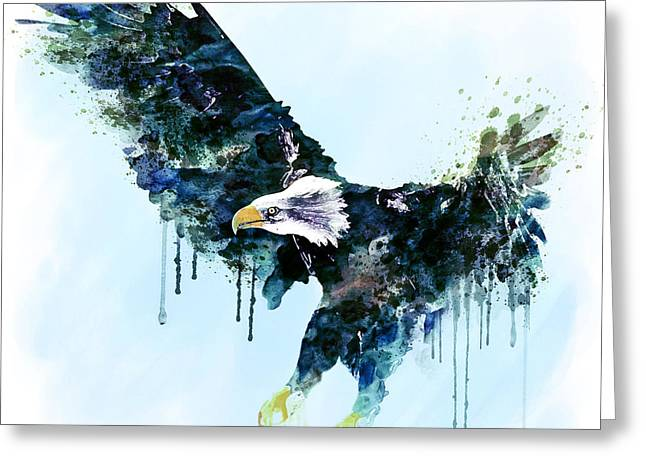 Bird Of Prey Mixed Media Greeting Cards - Free and Deadly watercolor Greeting Card by Marian Voicu