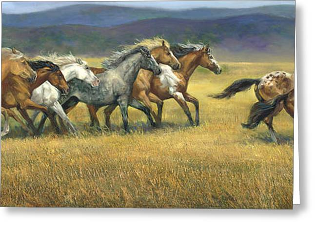 Wild Horse Greeting Cards - Free and Wild Greeting Card by Laurie Hein
