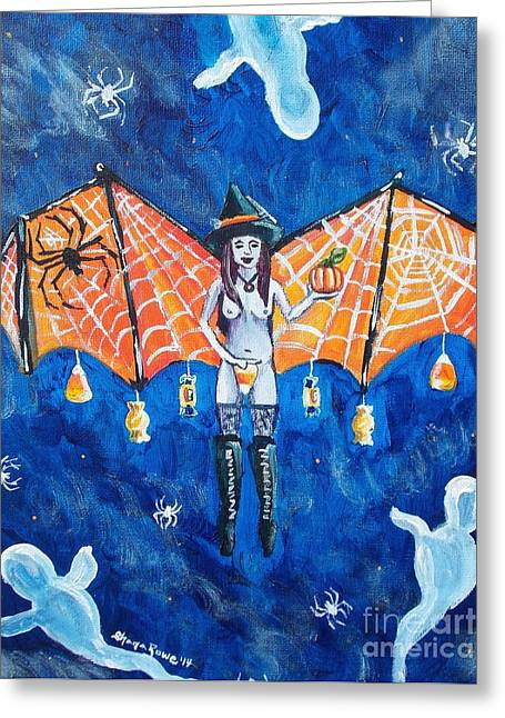 Fluttering Paintings Greeting Cards - Free as Halloween Magic Greeting Card by Shana Rowe