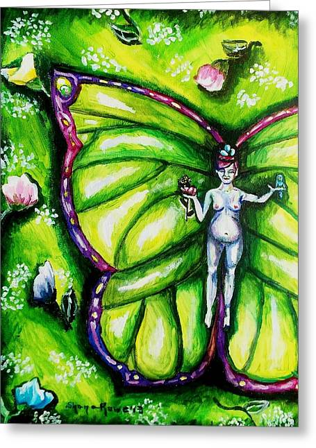 Flower Pink Fairy Child Greeting Cards - Free as Spring Flowers Greeting Card by Shana Rowe
