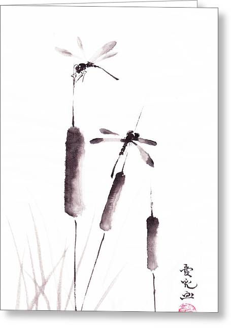 Inkwash Greeting Cards - Free As The Dragonflies Greeting Card by Oiyee  At Oystudio
