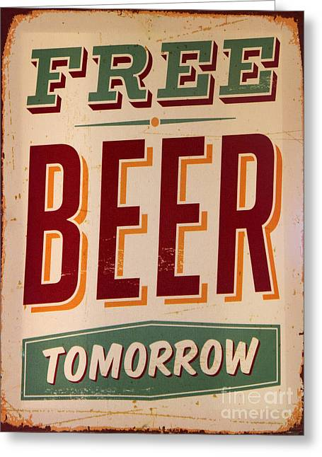 Bar Accessory Greeting Cards - Free Beer Greeting Card by Gillian Singleton