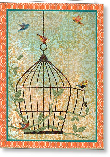 Bird Digital Art Greeting Cards - Free Birds-C Greeting Card by Jean Plout