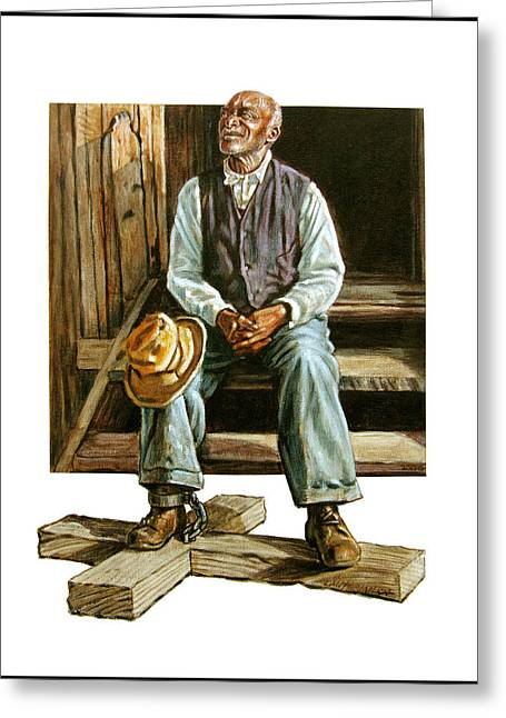 Black Man Paintings Greeting Cards - Free by Faith Greeting Card by John Lautermilch