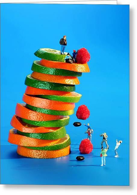 Green Beans Digital Art Greeting Cards - Free falling bodies experiment on fruit tower Greeting Card by Paul Ge