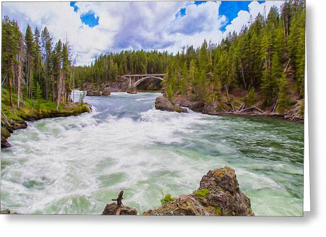 Mountain Valley Greeting Cards - Free Flowing Yellowstone River Greeting Card by John Bailey