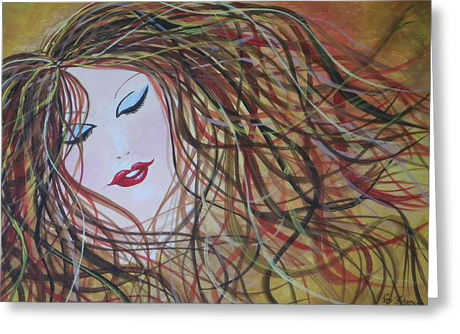 Flowing Blonde Hair Greeting Cards - Free Hair Day Greeting Card by Eric Johansen