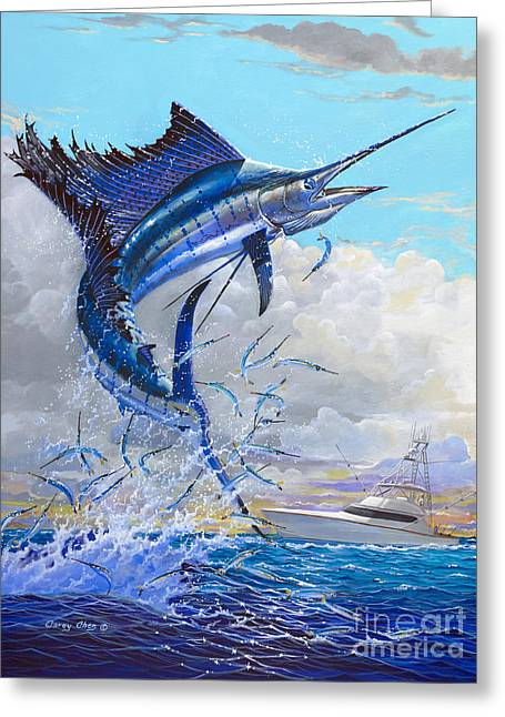 Striped Marlin Greeting Cards - Free Jumper Off00152 Greeting Card by Carey Chen