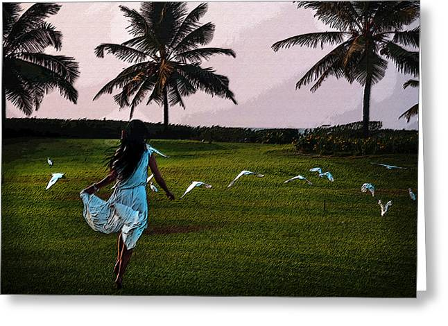 Woman In A Dress Greeting Cards - Free Like the Birds Greeting Card by Jenny Rainbow