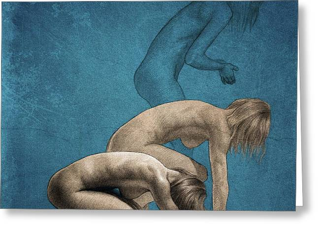 Nude Female Greeting Cards - Free Phases Greeting Card by Dirk Dzimirsky