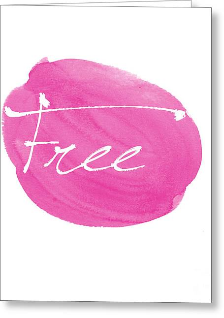 Word Greeting Cards - Free pink Greeting Card by Marion De Lauzun