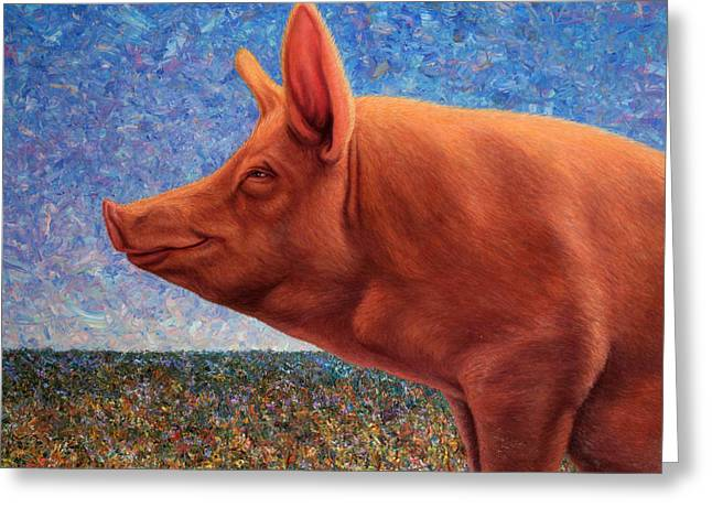 Palette Knife Greeting Cards - Free Range Pig Greeting Card by James W Johnson