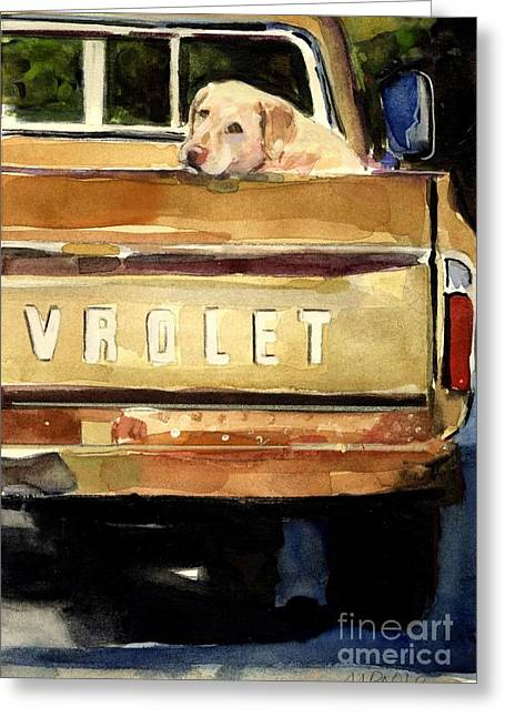 Yellow Dog Paintings Greeting Cards - Free Ride Greeting Card by Molly Poole