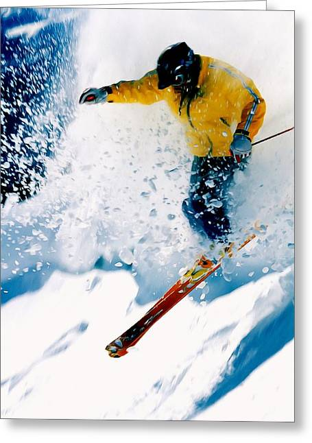 Skiing Action Paintings Greeting Cards - Free-ride Skier Greeting Card by Lanjee Chee