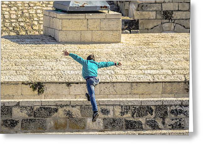 Birthright Greeting Cards - Free Running in Jerusalem Greeting Card by Alan Marlowe