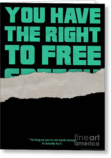 Censorship Digital Art Greeting Cards - Free Speech Greeting Card by Graeme Voigt