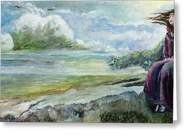 Lost In Thought Paintings Greeting Cards - Free Spirit Greeting Card by Siobhan Lewis