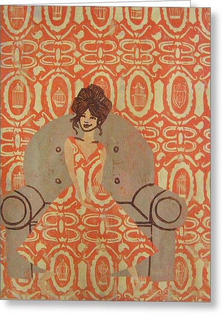 Printmaking Reliefs Greeting Cards - Free Thinker - Orange Greeting Card by Jeslyn Cantrell
