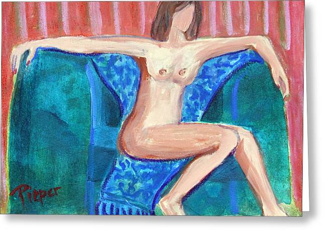 Urge Greeting Cards - Free to Be Bare in a Big Green Chair Greeting Card by Betty Pieper
